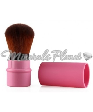 Выдвижная кисть кабуки розовая фото