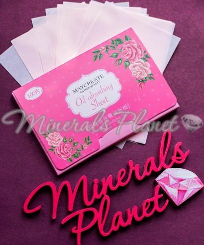 Матирующие салфетки с розовым маслом 100шт