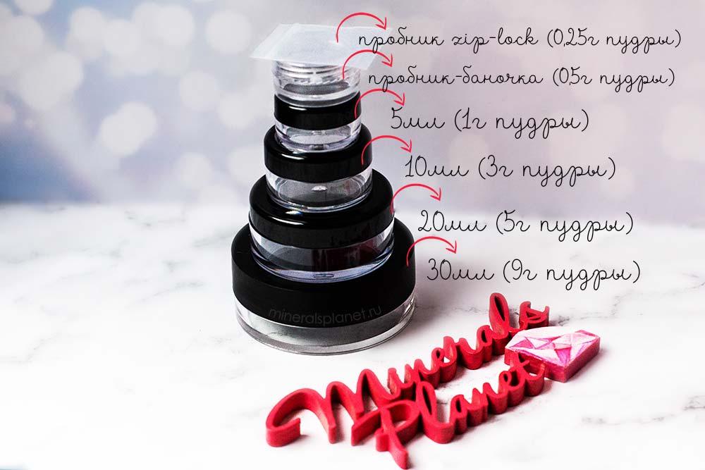 Баночки с минеральной косметикой, объемы, вес